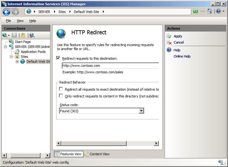 HTTP Redirection in IIS 7 on Windows Server 2008 | Pluralsight